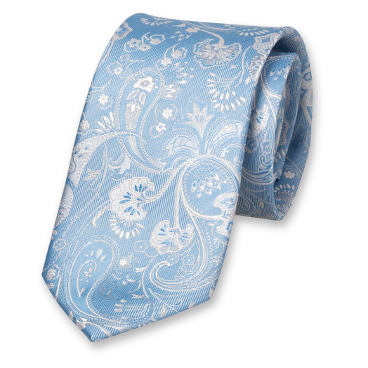 Light Blue Tie - Paisley - Silk (1)