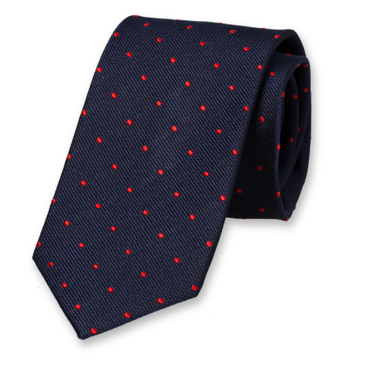 Navy Tie with Red Dots - Silk (1)