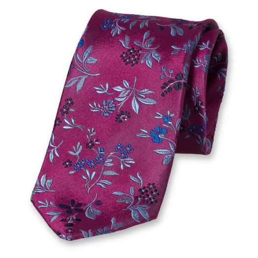 Violet Tie with Flowers - Silk (1)