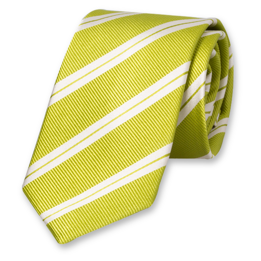 Lime-White Tie with Stripes - Silk (1)