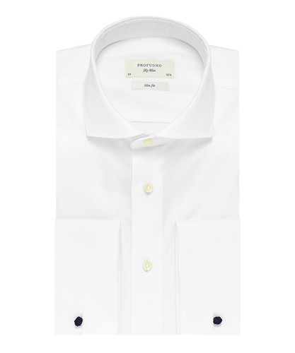 Profuomo Shirt - White - Slim Fit - Royal Twill - Double Cuff (1)