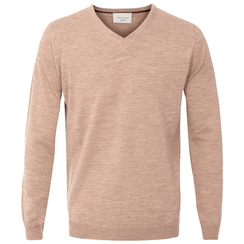 Profuomo Knitted Sweater Beige merino v-neck (1)