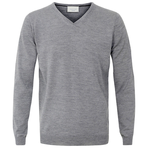 Profuomo Knitted Sweater Grey merino v-neck (1)