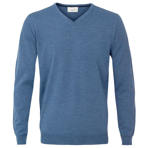 Profuomo Knitted Sweater Light Blue merino v-neck (1)