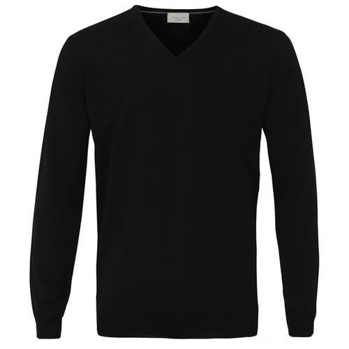 Profuomo Knitted Sweater Black merino v-neck (1)